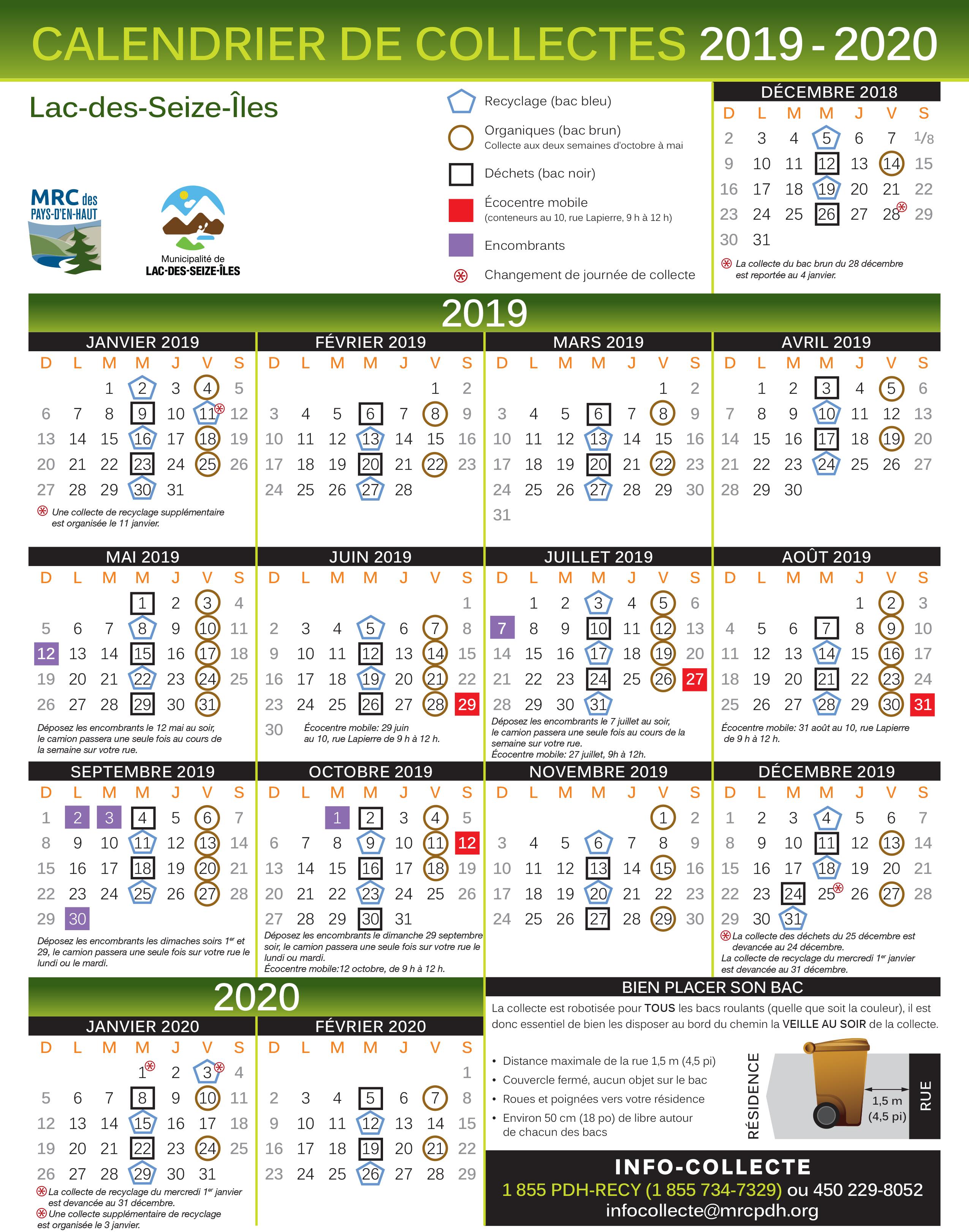 Calendrier Collecte des matières résiduelles 2019