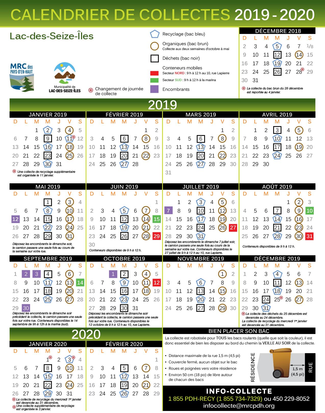 Calendrier Collectes 2019-20 Lac-des-Seize-Îles