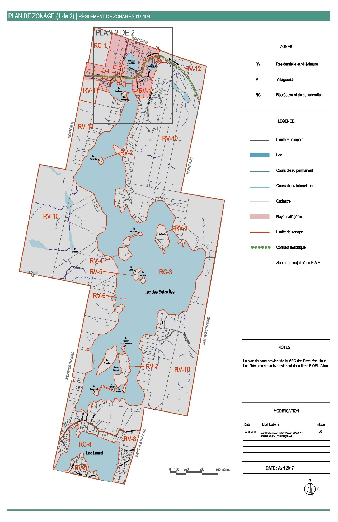 Plan de zonage Lac-des-Seize-Îles - 1 de 2