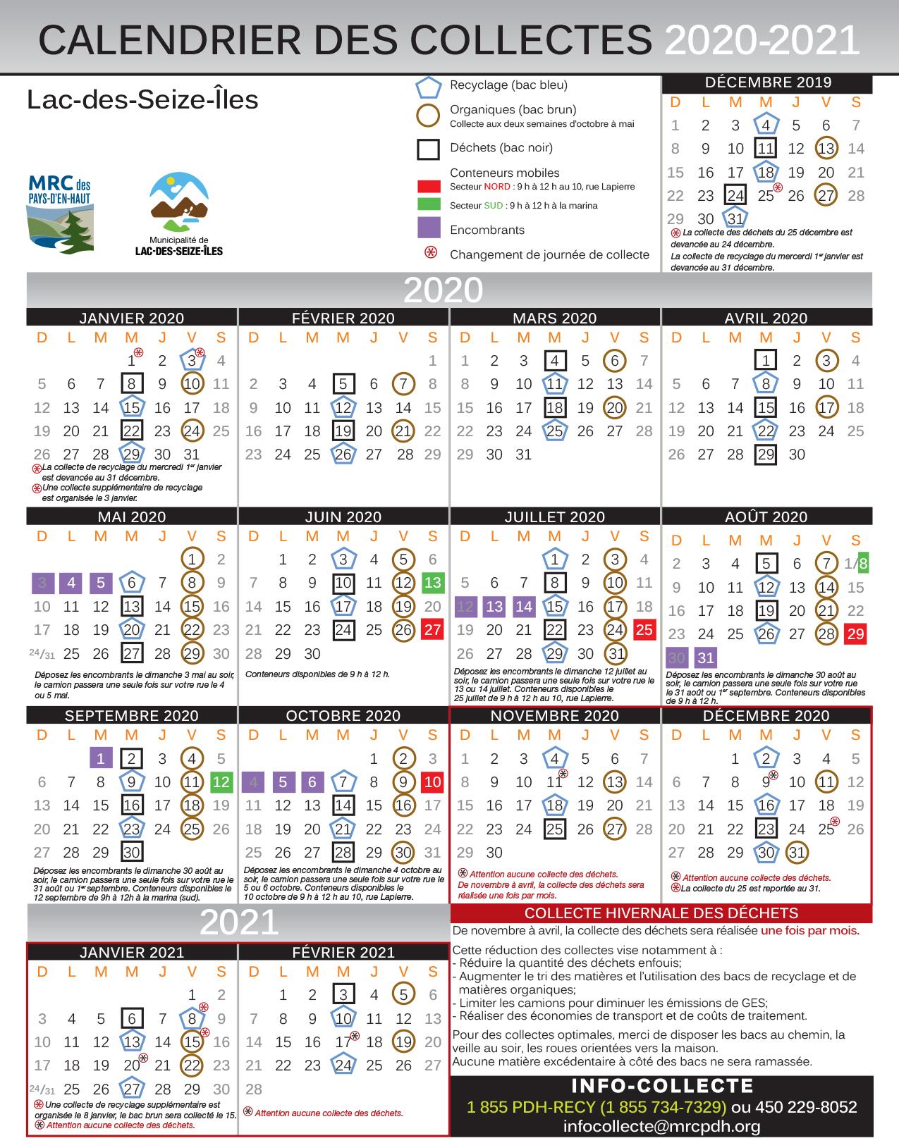 Calendrier des collectes 2020-21