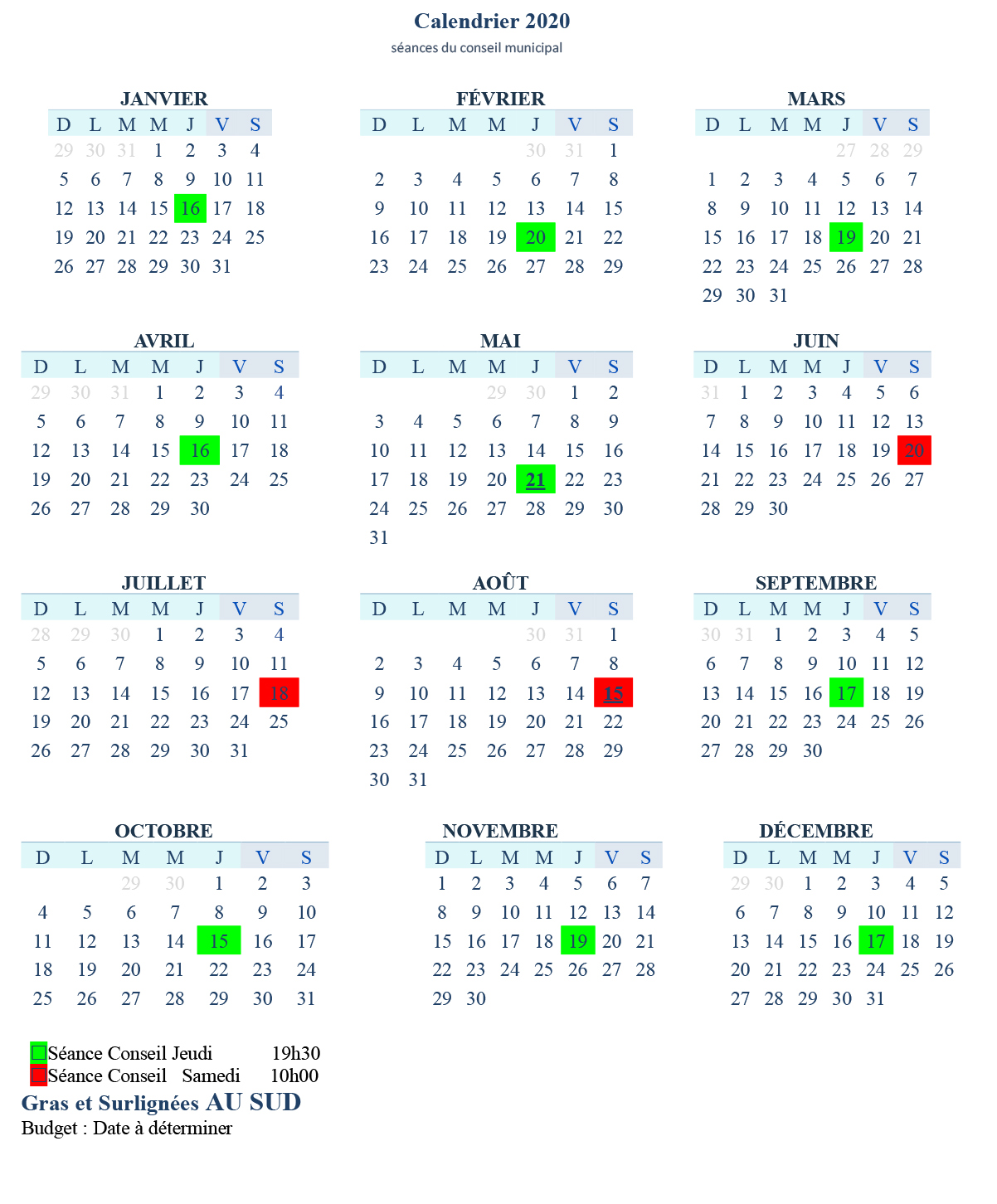 Calendrier 2020 des séances du conseil municipal de Lac-des-Seize-Îles